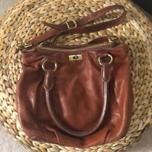 All leather j crew handbag, Cognac brown